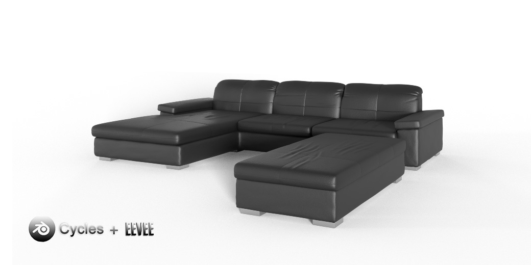 Black leather sofa + ottoman