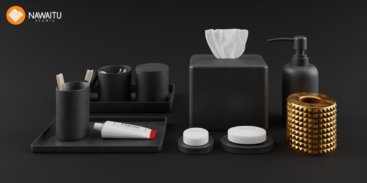 Bathroom Accessories Set Modern Black Blender Market