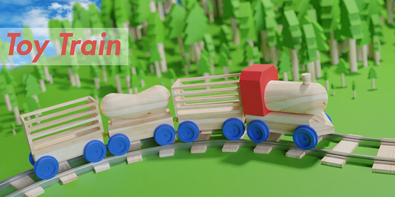 34831a49cd7 Wooden Toy Train cargo and track - Blender MarketWooden Toy Train cargo and  track - Blender Market