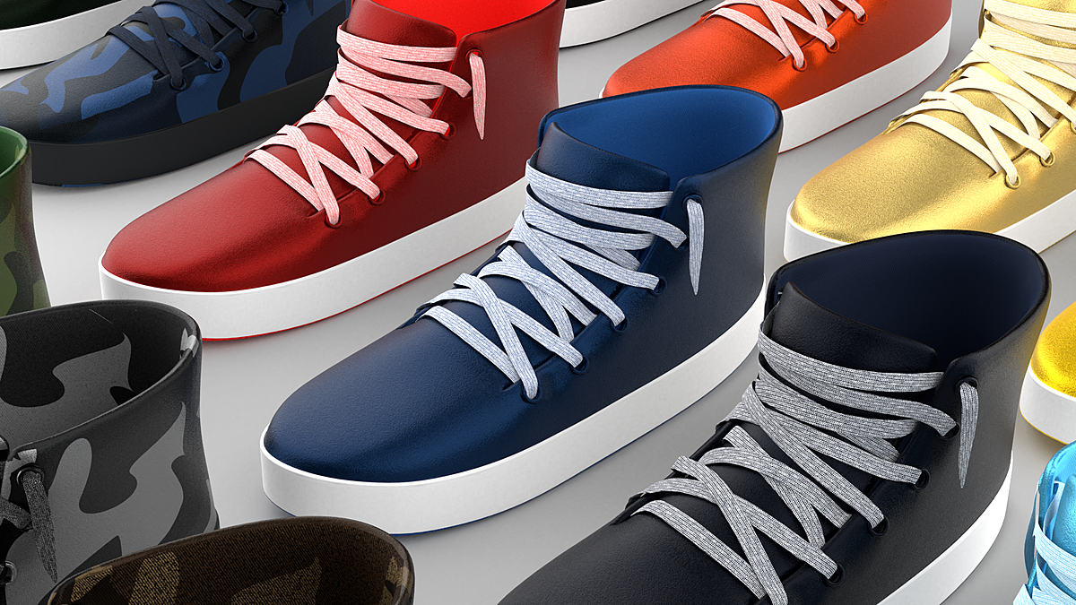 Stylized Shoes Sneakers collection Lowpoly 3D model