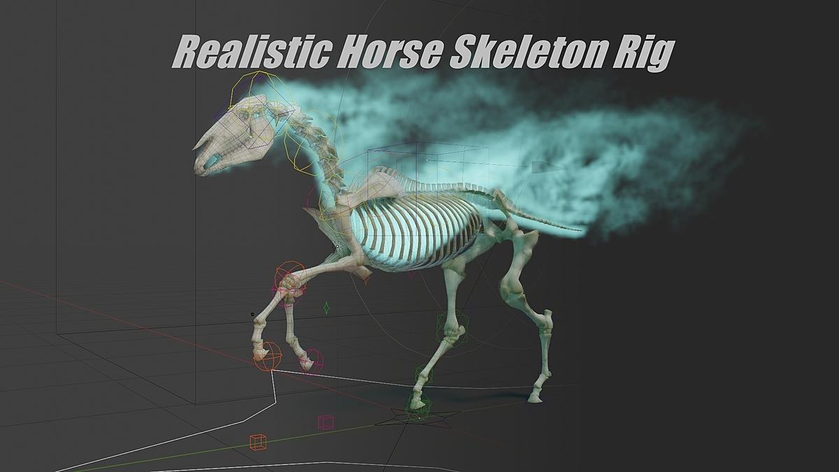 JL Realistic Horse Skeleton Rig for Blender 2 8 Eevee & Cycles