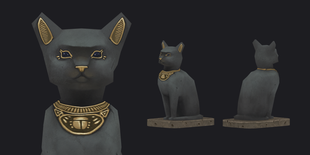 Handpainted low poly Cat Statue