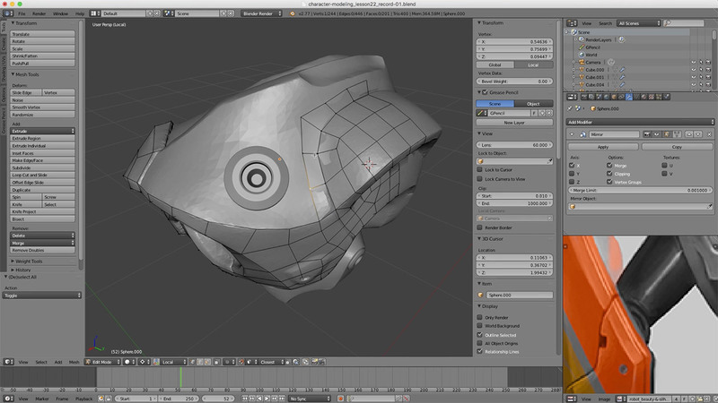 Modeling a Robot Game Character with Blender