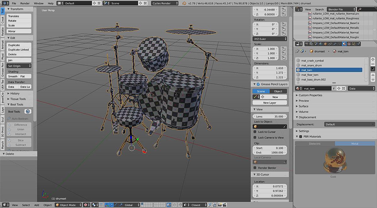 Drum Set Low-poly 3D model