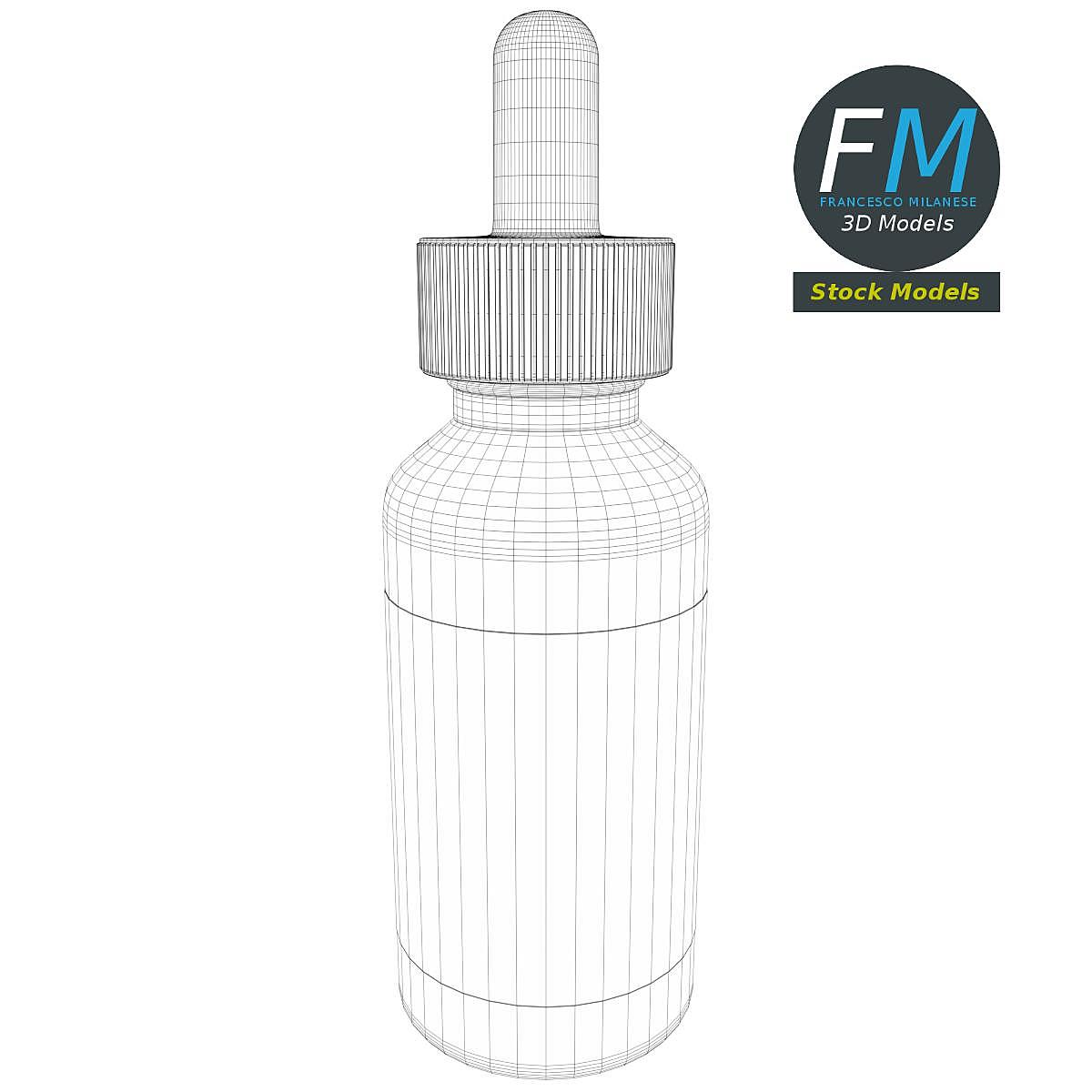 Dropper bottle with liquid and label